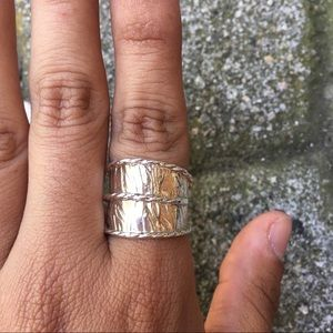 Peruvian Silver Hammered Large Ring